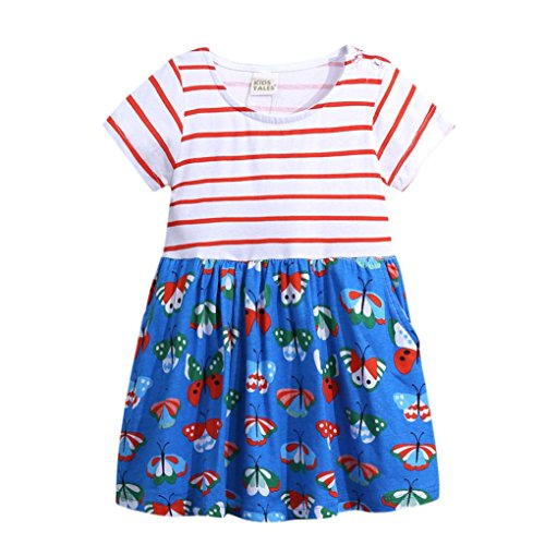 JERFER Floral Gestreifte Prinzessin Kleid Kleinkind Kinder Mädchen Freizeitkleidung Outfits (Rot, 4T) (Cheerleader Outfit Für Verkauf)