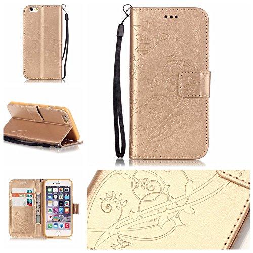 iPhone Case Cover Folio-Schlag-Standplatz-Fall, Mappen-Kasten mit Bargeld und Karten-Slot Premium-PU-Leder-Schutzhülle aus Silikon für iPhone6 6S 4,7 Zoll ( Color : Gold , Size : IPhone 6 6S ) Gold