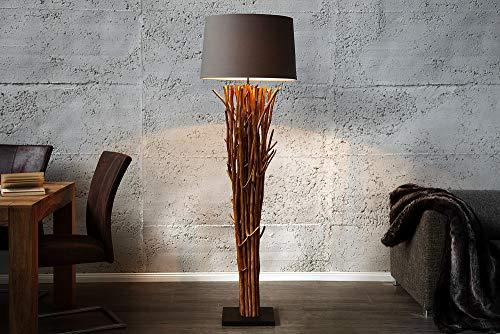 Invicta Interior Riesige Design Treibholz Stehlampe Euphoria 180cm grau braun Handarbeit mit echten Leinenschirm Stehleuchte Treibholzlampe
