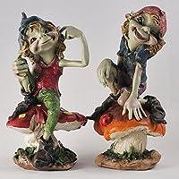 Pixies de setas conjunto de 2figuras de decoración de la escultura de jardín misterio alta calidad elfo y los niños de hadas, altura 13m