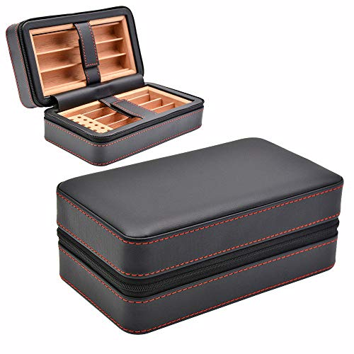 KR Echtes Leder Aufbewahrungsbox Humidor Mobile Bequem Zigarre/Zigarre Box Tabak Mit Feuchtigkeitsspendende Box Für Feuchtigkeitsspendende,Black Mobile Black-box