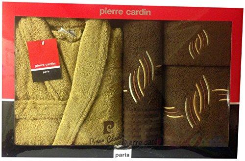 L/XL Mink & Schokolade Braun Rain Drop Pierre Cardin 4-teiliges Bademantel und Handtuch-Set, bestickt grau gold Latte Braun geschwungene Linien-100% Baumwolle Designer Bademantel, Gästetuch, Duschtuch, Badetuch