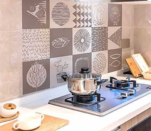 Adesivi per olio cucina Adesivi per piastrelle stufa Adesivi per pareti ad  alta temperatura Cappuccio per cucina carta da parati Decorazione creativa  ...