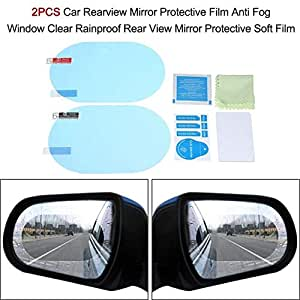 CellFAther® Car Rearview Mirror Film Car Side Mirror Protect Film HD Anti-Water;Anti-Mist;Anti-Fog Film; Waterproof Rear View Mirror for Car; SUV; Truck; Bus; Trailer; Side Mirrors (Pack of 2)