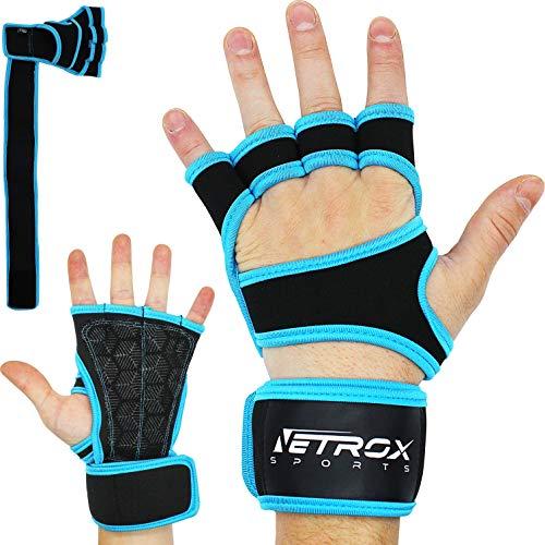 Netrox Fitness Handschuhe mit Handgelenkbandage Handgelenkstütze extra Grip und rutschfest für Herren und Damen in schwarz - Crossfit Krafttraining Kraftsport Bodybuilding Sport Gym Gloves (Blau, XS)