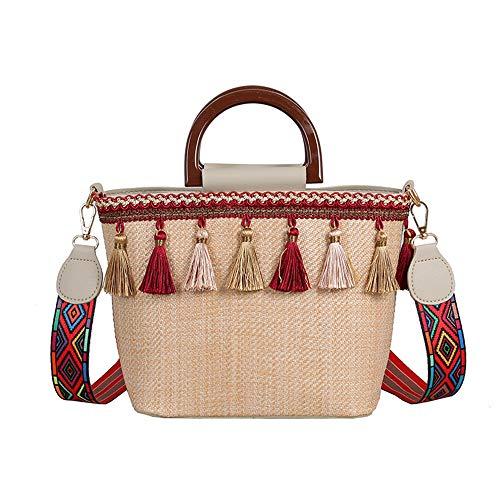DLDL Handgemachte Stroh Taschen, Sommer Meer Strand Stroh Tasche Quaste PU Nähen Klassische Handtasche für Frauen Woven Natural Wind Umhängetasche Chic Kontrast Farbe Umhängetaschen,Beige -
