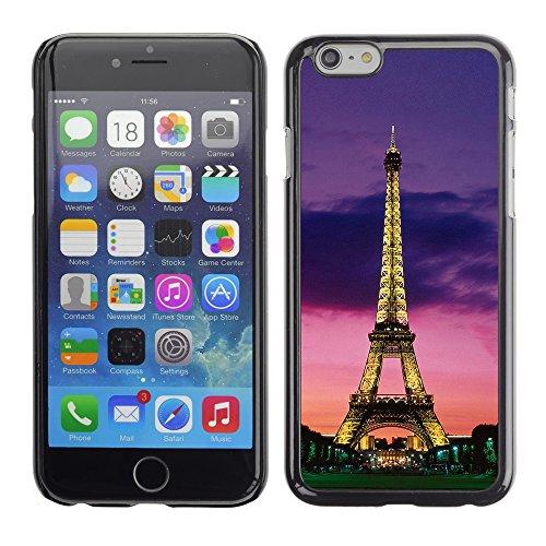 Graphic4You Paris At Night Skyline View Postkarte Ansichtskarte Design Harte Hülle Case Tasche Schutzhülle für Apple iPhone 6 / 6S Design #5