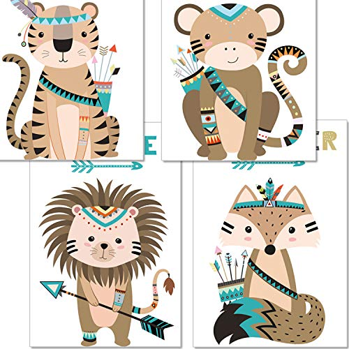 artpin® 4er Set Poster Bilder Kinderzimmer - Deko Junge Mädchen - A4 Wandbilder Babyzimmer - Indianer Waldtiere Safari Skandinavisch, Boho, Jungle, Bunt (P44)