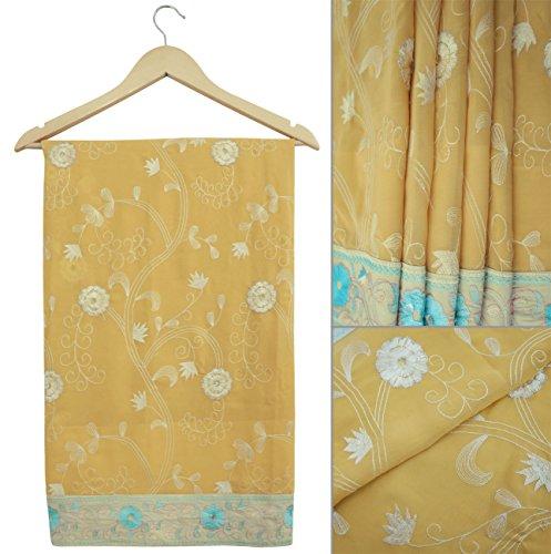Jahrgang indische Saree gestickte Georgette Stoff Peach Craft Gebrauchte Sari Decor (Peach Georgette)