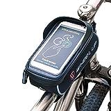 wheelup Fahrradtaschen Fahrrad Rahmentaschen Rennrad Radtaschen Wasserdicht Fahrradzubehör Brauchbar für die Handys Kleiner als 6 Inch sin (schwarz)