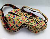 #5: Magic Multicolour double sided printed pattern lace with golden colour base one side (5 mtr1 piece)
