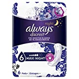 Always Maxi Night Discreet Inkontinenz Einlagen bei Blasenschwäche, 8er Pack (8 x 6 Stück)