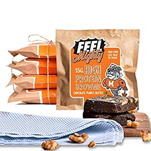 Feel Mighty High Protein Brownies- Pack of 5 Low Carb, Low Calorie, High Fiber, Sugar-Free Chocolate Peanut Butter Flavoured Dessert