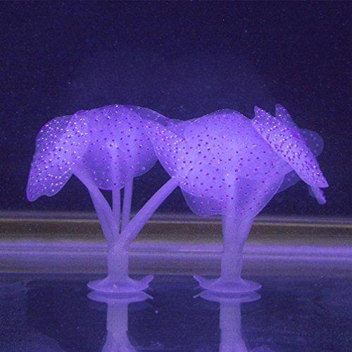 Aquarium Fluoreszanz Künstliche Coral Silikon Pflanze Sucker Ornament Wasser Landschaft Dekor Tank Zubehör (purple)