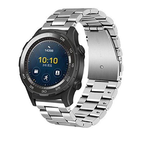 Huawei Watch 2 Correa, Malloom Genuina pulsera de acero inoxidable correa banda para Huawei Watch 2 (Plata)