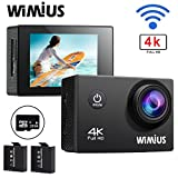 WiMiUS Q1 4K Waterproof Sports Action Camera With WiFi 2.0 Inch LCD Screen 16MP 170 Degree Wide Angle Lens Helmet Camera DVR Camcorder,SD Card Included (Black+SD)