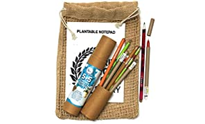 bioQ Plantable Stationery Bio-degradable and Recycled Combo Set 5 Seed Pen with 5 Seed Pencil in a Box , 1 Hand-Made Seed-Paper Notepad , Eco-Friendly Jute Bag