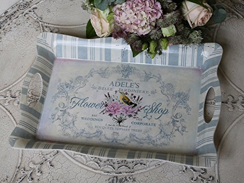 Chic Antique Tablett m. Engel Druck Creme Opal Shabby Vintage 40 x 28 cm -