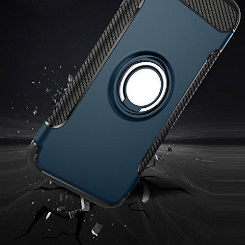 iPhone SE Hülle, HICASER Abnehmbare Hybrid Dual Layer Defender Case [Shock Proof] Carbon Faser TPU +PC Handyhülle mit Klappständer für iPhone SE / 5S/ 5 Schwarz Dark Blau