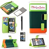 TCD for HTC ONE M7 Colorful Stylish [GREEN GREEN ORANGE] Color Block Pu Leather Wallet Case with Credit Card Slots [Includes FREE SCREEN PROTECTOR AND STYLUS PEN]