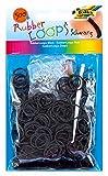 folia 331590 - Rubber Loops, inklusive 25 S - Clips und 1 Häkelnadel, 500 Gummibänder, schwarz