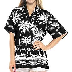 LA LEELA Blusas de Manga Corta Camisa Hawaiana de la Playa botón hacia Arriba el Traje de baño de natación s Halloween Negro