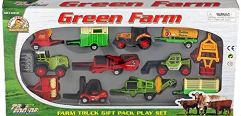 Large 12 Piece Diecast And Plastic Tractor And Farm Vehicles