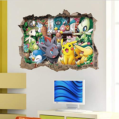 hfwh Wandaufkleber Pocket Monster Pokemon Go Pikachu Home Decals 3D Windown Weltberühmte Cartoon Spiel Für Kinder Zimmer 45x60cm