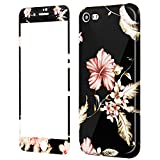 Coque iPhone 8 Fleurs Silicone, Wafly Coque iPhone 7 360 Degres + Protection en Verre...