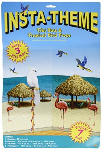 Beistle 52006 Tiki Hütte und tropische Vögel Requisiten, 20,3 cm bis 1,2 m, 10 Stück im Paket 10-teilig Medium mehrfarbig