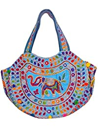 Gaurapakhi Rajasthani Collection And Ethnic Cotton Handmade Handbag With Multicolor For Women's - B07D7GP4PQ
