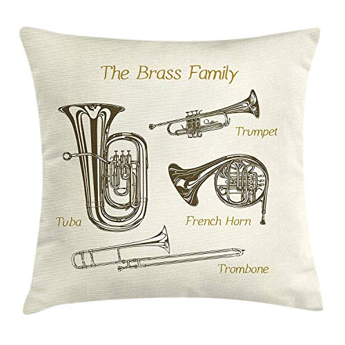 Music Throw Pillow Cushion Cover by Lunarable, Brass Family Instruments Drawing of Tuba Trumpet Trombone and French Horn, Decorative Square Accent Pillow Case, 18 X 18 Inches, Army Green Ivory Khaki