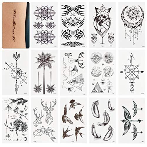 WOWOSS 60 Blätter Wasserdicht Temporäre Tattoos Fake Tattoos Body Art Tattoo Aufkleber Schwarz und Bunt Transfer Tattoos für Arme Schultern Brust Rücken Beine
