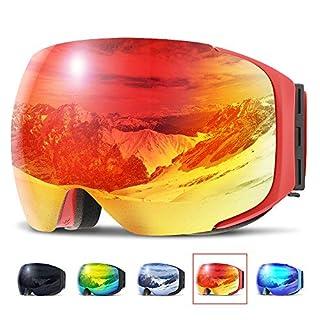 Skibrille ,COPOZZ G2 Ski Snowboard Brille Brillenträger Schneebrille Snowboardbrille Verspiegelt - Für Damen Herren Frauen Jungen - Magnet Schnell Austauschbaren Linsen - Black Weiß Schlechtwetter Rot