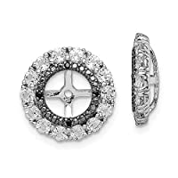 925 Sterling Silver Rhodium plated White Topaz and Black Sapphire Earrings Jacket Jewelry Gifts for Women