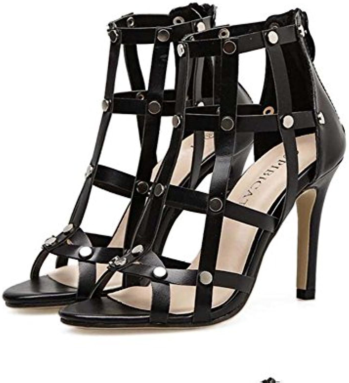 Frauen-kühle Stiefel 10 Cm Stilett-offene Zehe-Gladiator-Sandelholze Kleid-Schuhe reizvolle feste Höhle-Niet-Reißverschluss-Gerichtö