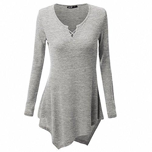 AILEESE Frauen Casual Pullover Shirt Kleid Langarm Tops übergroße Pullover Pullover lose Sexy Sweatshirt (Golf-shirt Stricken)
