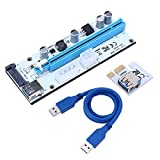 CYNDIE Datenkabel 008S PCI-E PCI Express Riser Karte 1x zu 16x USB 3.0 Datenkabel SATA auf 4pin IDE Molex Netzteil für