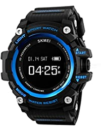 SKMEI 1188 Bluetooth Digital Smart Watch Colour Blue With Health Fitness and Sport Activity Tracker, Heart Rate Sensor Monitor Compatible with IOS, Android, Apple iphone 7, 3G, 4G Smart Phones, All Mobiles