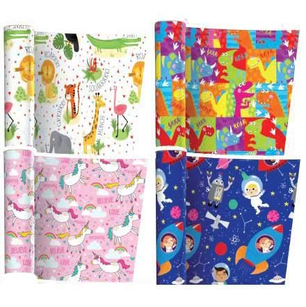 4 x Packungen Geschenkpapier - Kinder (Stile und Farben können variieren)
