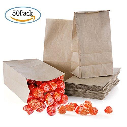 Meersee Papiertüten Braun, 50 Stück Papiertüte Tütchen Kraftpapier Papiertragetaschen Papiertaschen Tragetaschen 13*8 * 4CM