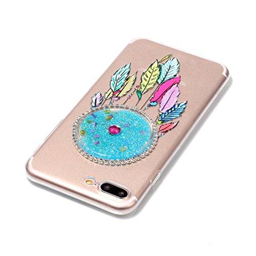 SKYXD Pour Iphone 7 PLUS 5.5 Pouce Coque 3D Motif Campanule Bling Glitter Fluide Liquide Sparkles Sables Mouvants Paillettes Flowing Brillante Étui Strass Ultra Mince Transparente Crystal Clair Souple Bleu Clair