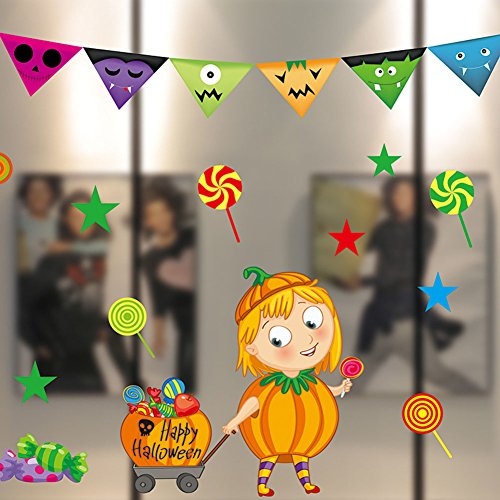 Moolecole Halloween Fenster Aufkleber Glas Stöcke Kindergarten Kürbis Fledermäuse Dekoriert (Yard Kunst Halloween)