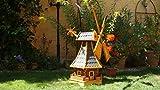 XL,Windmühle, wetterfest,robust mit Bitumen, MIT WINDFAHNE Windrad-Seitenruder, Windmühlen Garten, imprägniert + kugelgelagert 1 m groß in schwarz anthrazit dunkelgrau dunkel