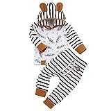 Borlai Baby-Kostüm, langärmelig, Kapuzenpullover und gestreifte Hose, 0-24 Monate, 2 Stück Gr. 56, weiß