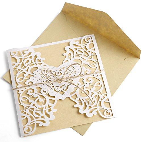 n Elegante Blume Blüte Spitze Design Kraftpapier mit Jute Band Karten, Umschläge, Schleifer, Einlegeblätter OHNE DRUCK Hochzeit Geburtstag Taufe Party Einladung ()