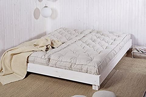 Home of Wool / Handmade Wool-Filled Mattress in 2 Pieces - Stacked or Side By Side Set Up / Non-toxic Bedding / Queen, King, California King or Custom Size / OEKO-TEX Certified Materials / Non - Toxic Bedding / Natural Color / Custom Sizes & Shapes & Fabrics Available / Made - to - Order