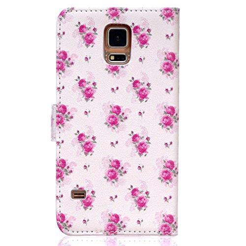 BoxTii® - Custodia in pelle PU a portafoglio con cover in silicone per Apple iPhone 6/iPhone 6s, con supporto, con 6 porta tessere, funzione chiusura magnetica staccabile, Ecopelle, #7 Love, Samsung G #9 Flowers