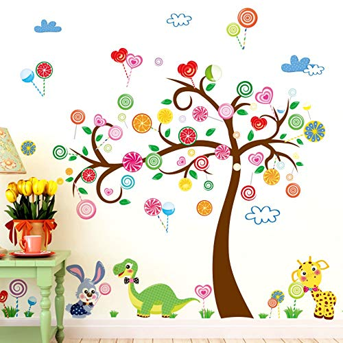 XIONGXI Türaufkleber Cartoon Wandaufkleber Teeladen Einkaufszentrum Kinderpark Kindergarten Farbe Obstbaum Dekoration Kleintiere und Süßigkeiten Bäume