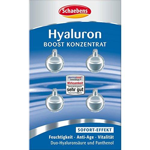 Schaebens Hyaluron Boost Konzentrat 1,6 ml 4x 0,4 ml für alle Hauttypen, Sofort-Effekt, Feuchtigkeit, Anti-Age & Vitalität, mit Duo-Hyaluraonsäure & Panthenol für 4 Anwendungen 1.6 Duo